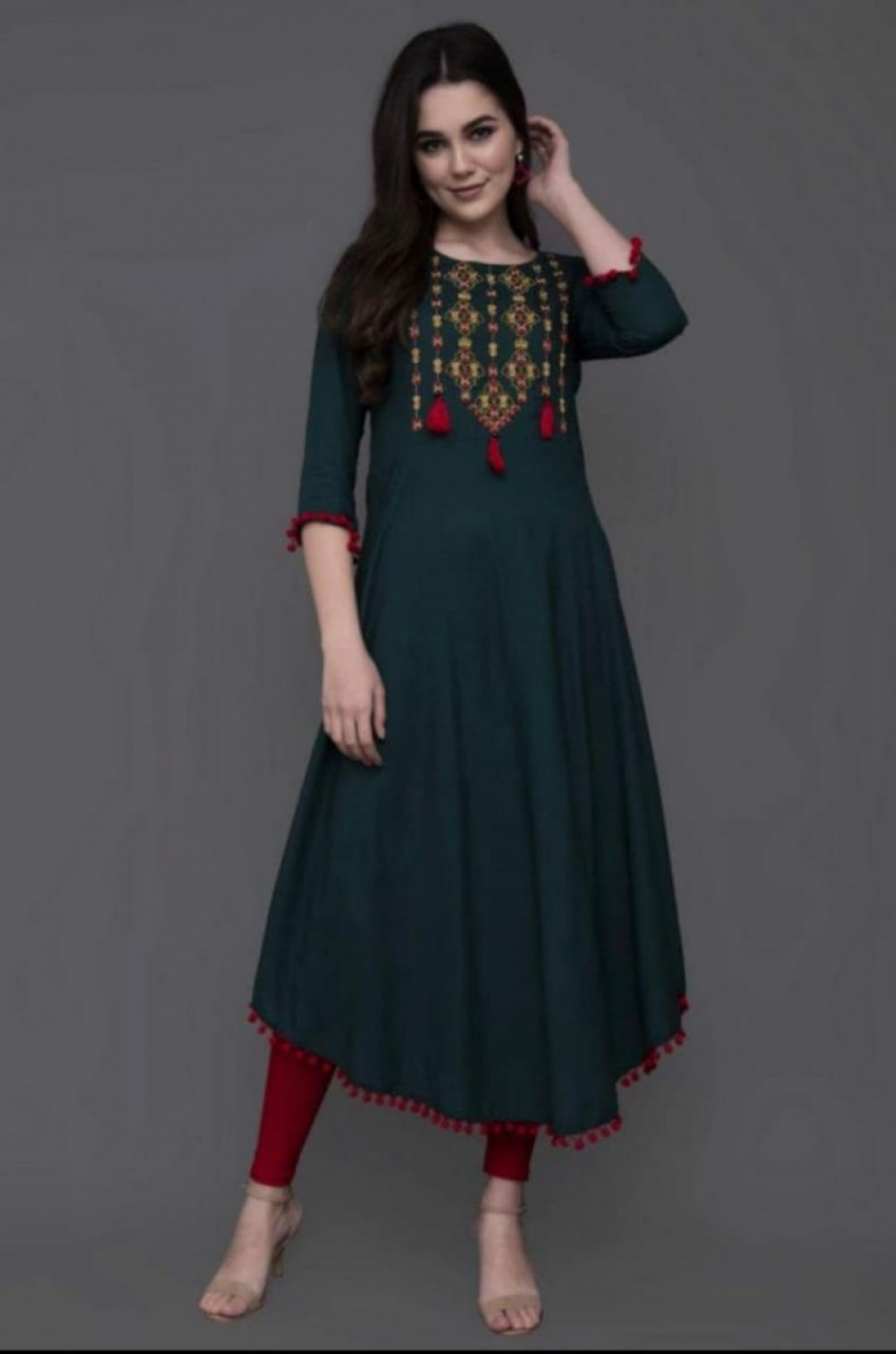 Simple Festival Rayon Stitched Rama Colour Kurti online available