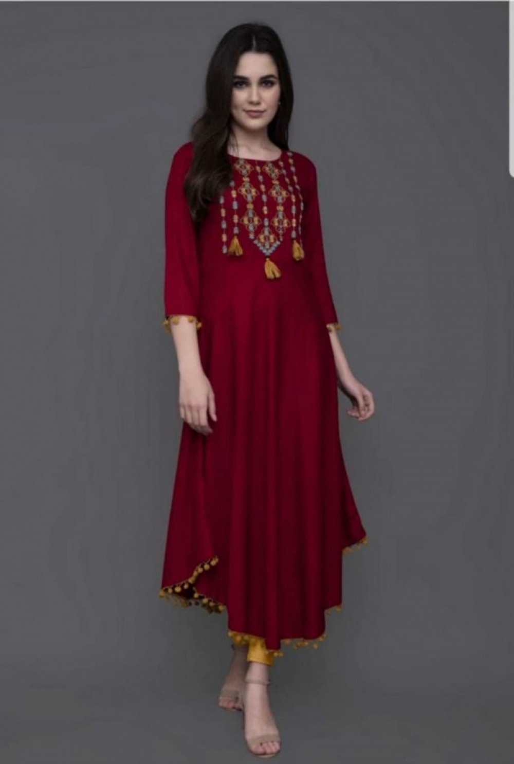 Sophisticated Festival Rayon Stitched Red Colour Kurti online available