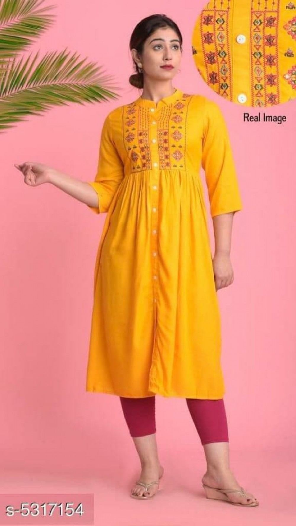 Trendy Embroidery Yellow Rayon Kurti online available