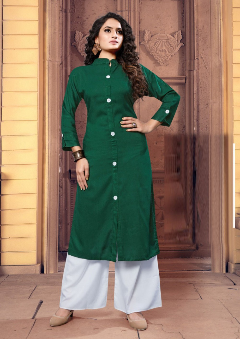Classic Green Rayon Palazzo Suit