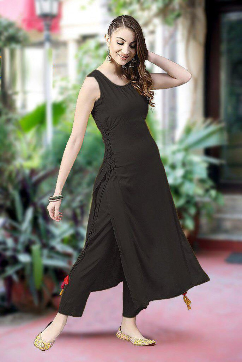 Fancy Festival Wear Black Simple Kurti