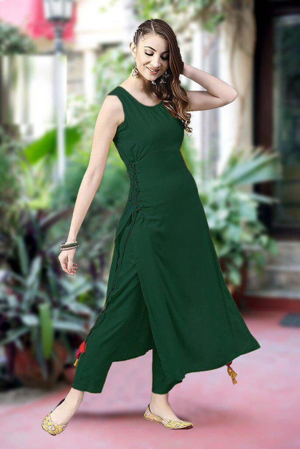 Fantastic Wedding Wear Green Rayon Kurti