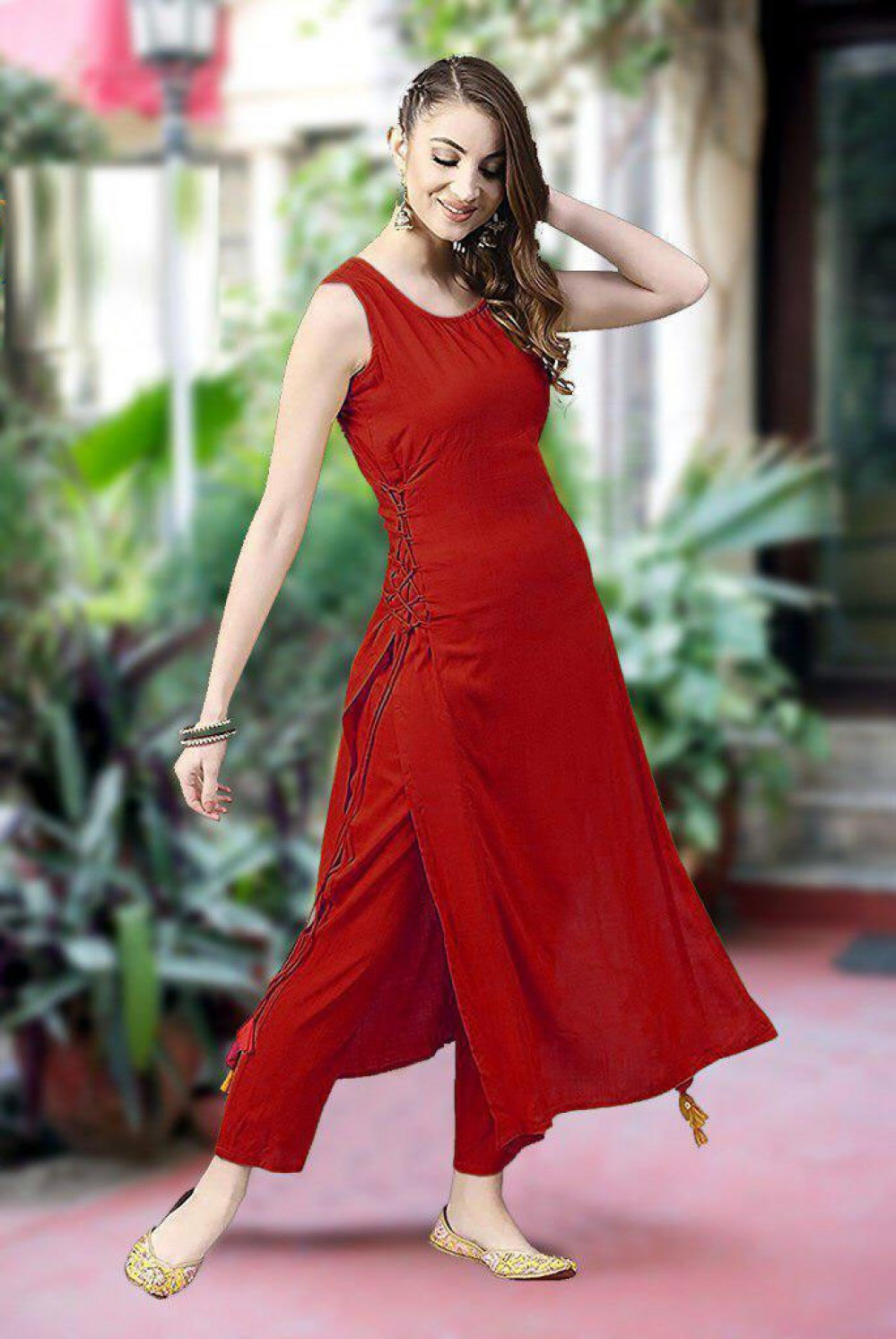 Fashion Design Red Rayon Simple Kurti