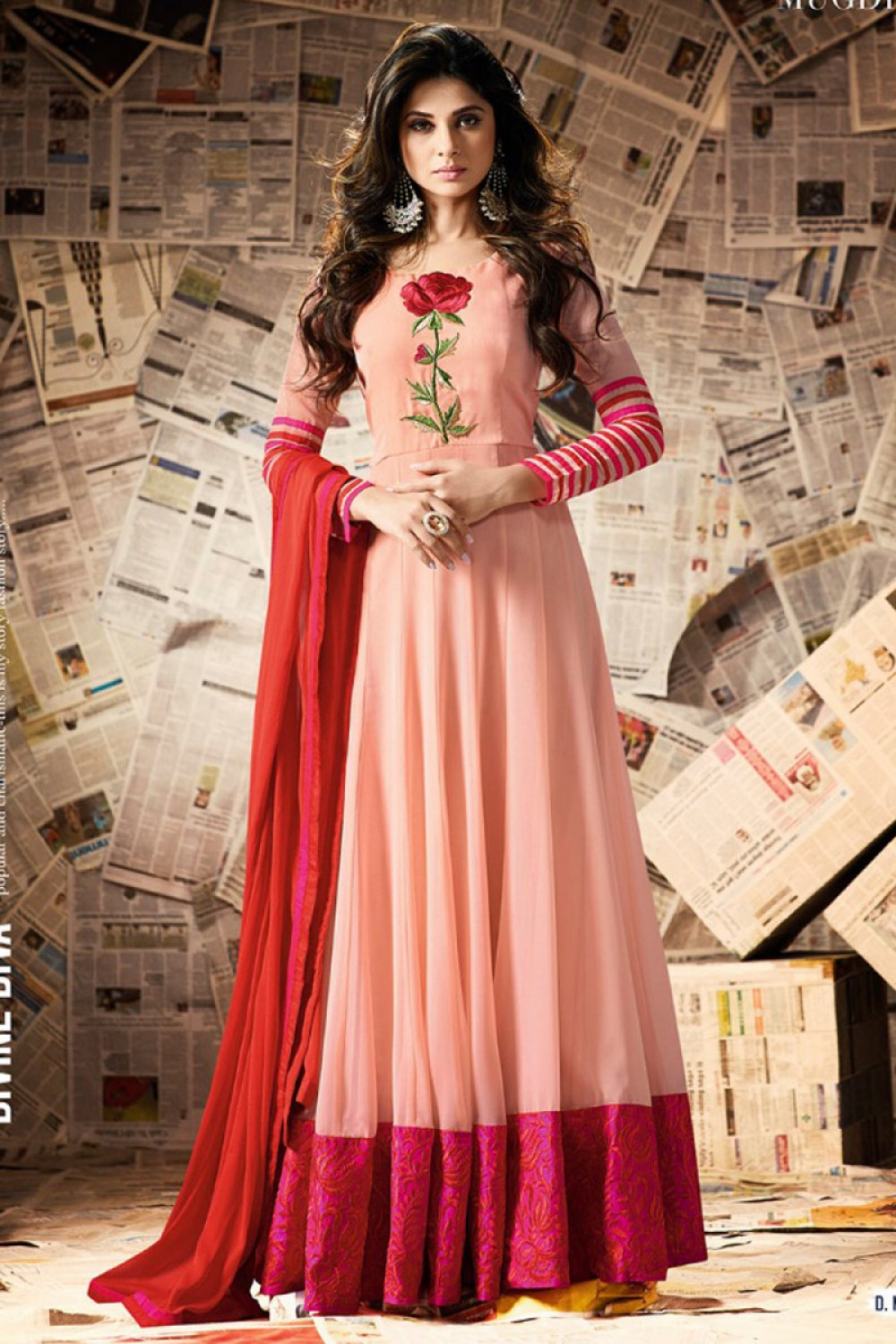 Exellent Peach Georgette Art Silk Anarkali Suit