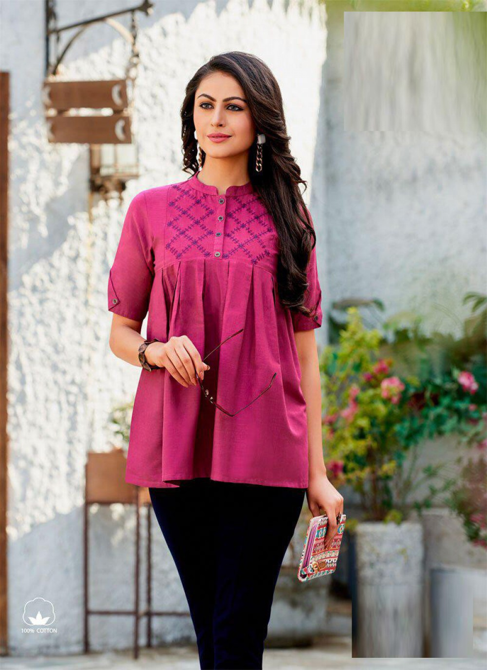 Adorable Casual Wear Pink Reyon Top