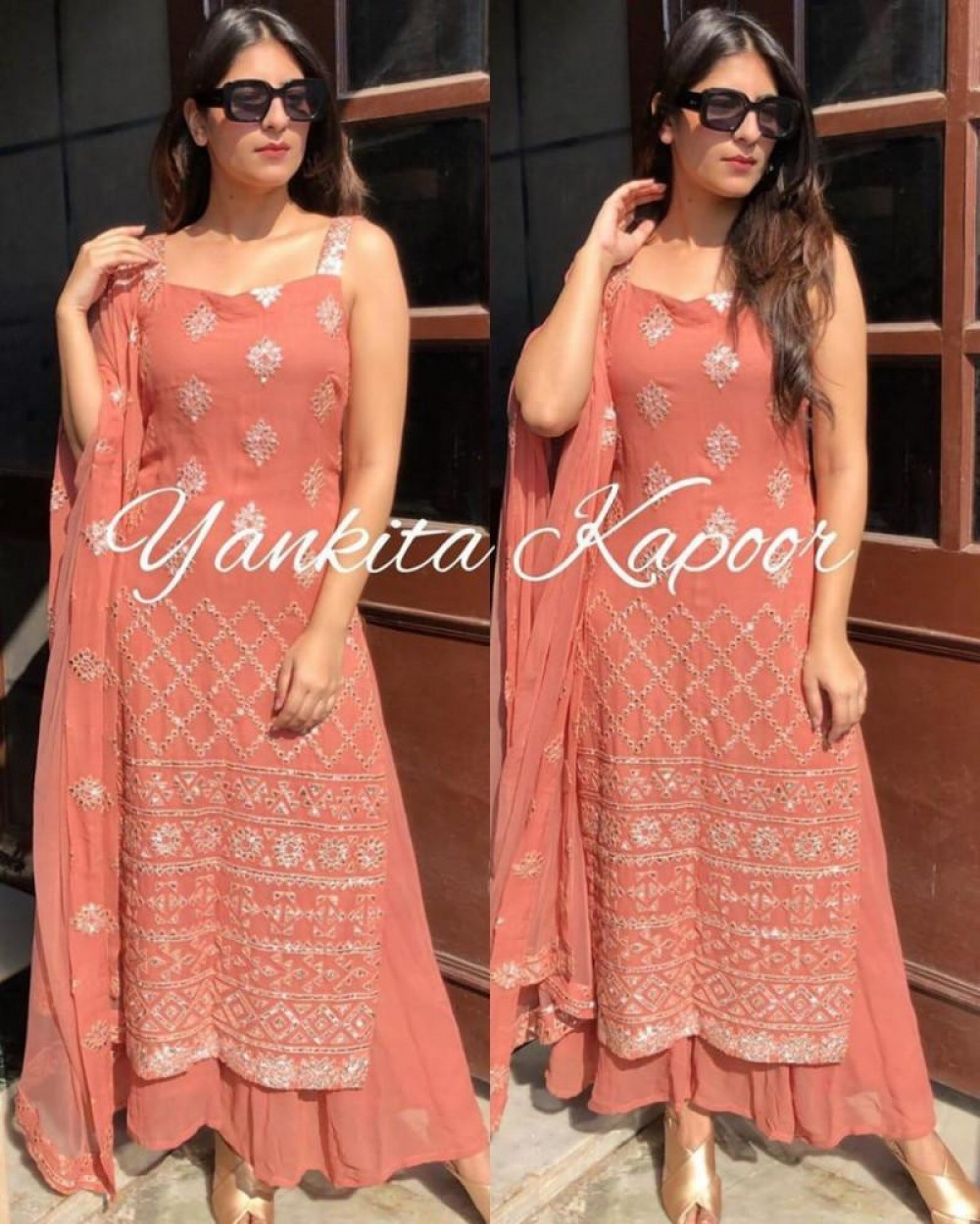Meticulous Peach Colour Top With Plazzo