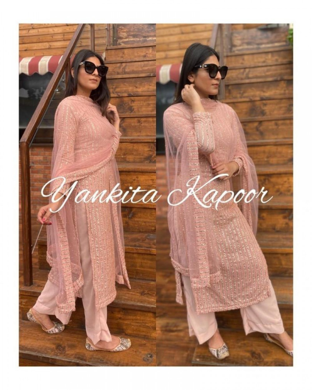 Desirable Sparkling Wore Top With Palazzo Peach Colour Suit