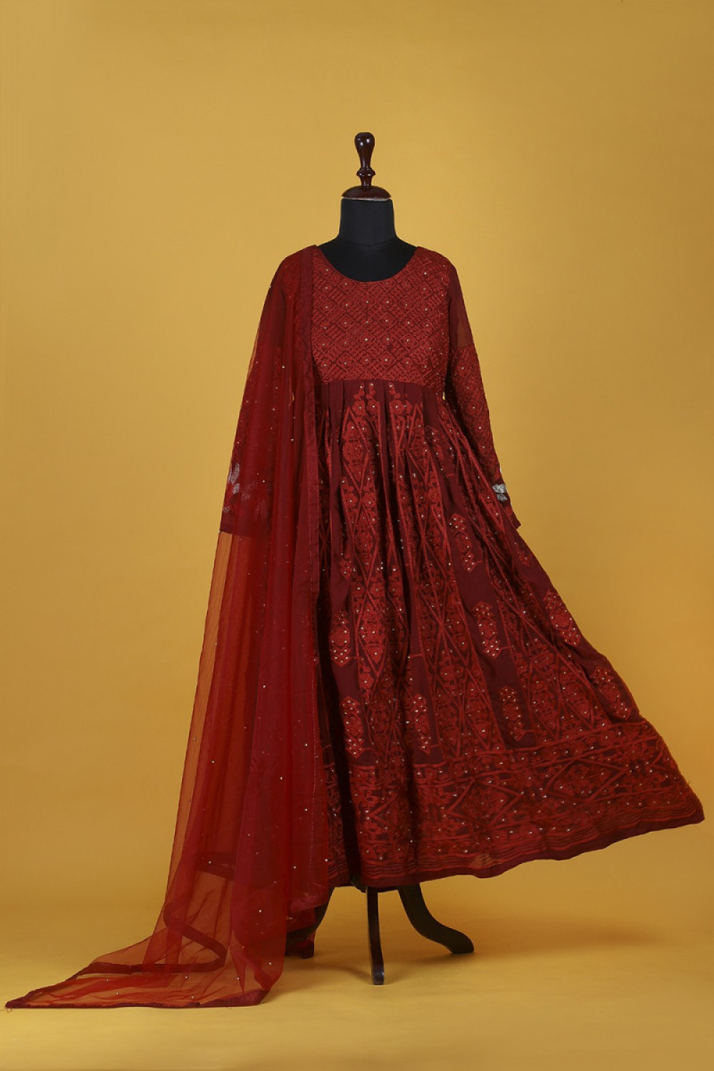 Imposing Diamond Embroidered Maroon Colour Salwar Suit