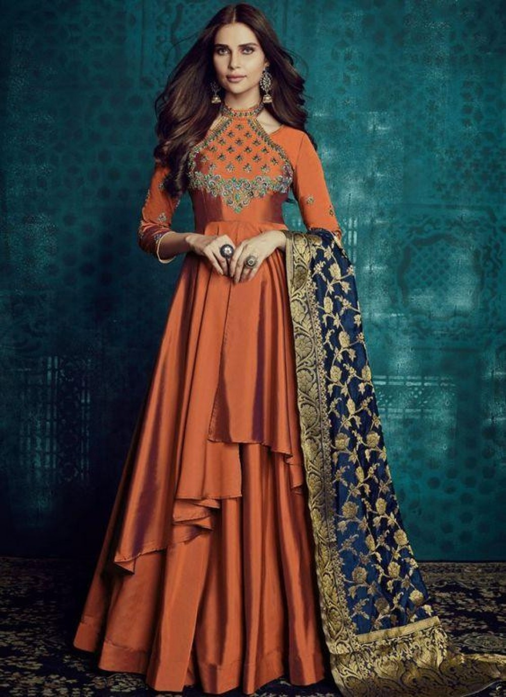Flamboyant dark orange Colour Embroidered anarkali suit with jaqard dupatta