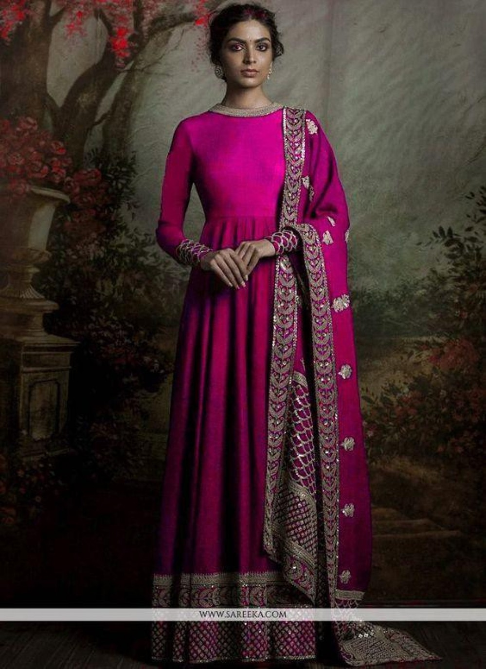 Gleaming ly Deep pink Anarkali Suit