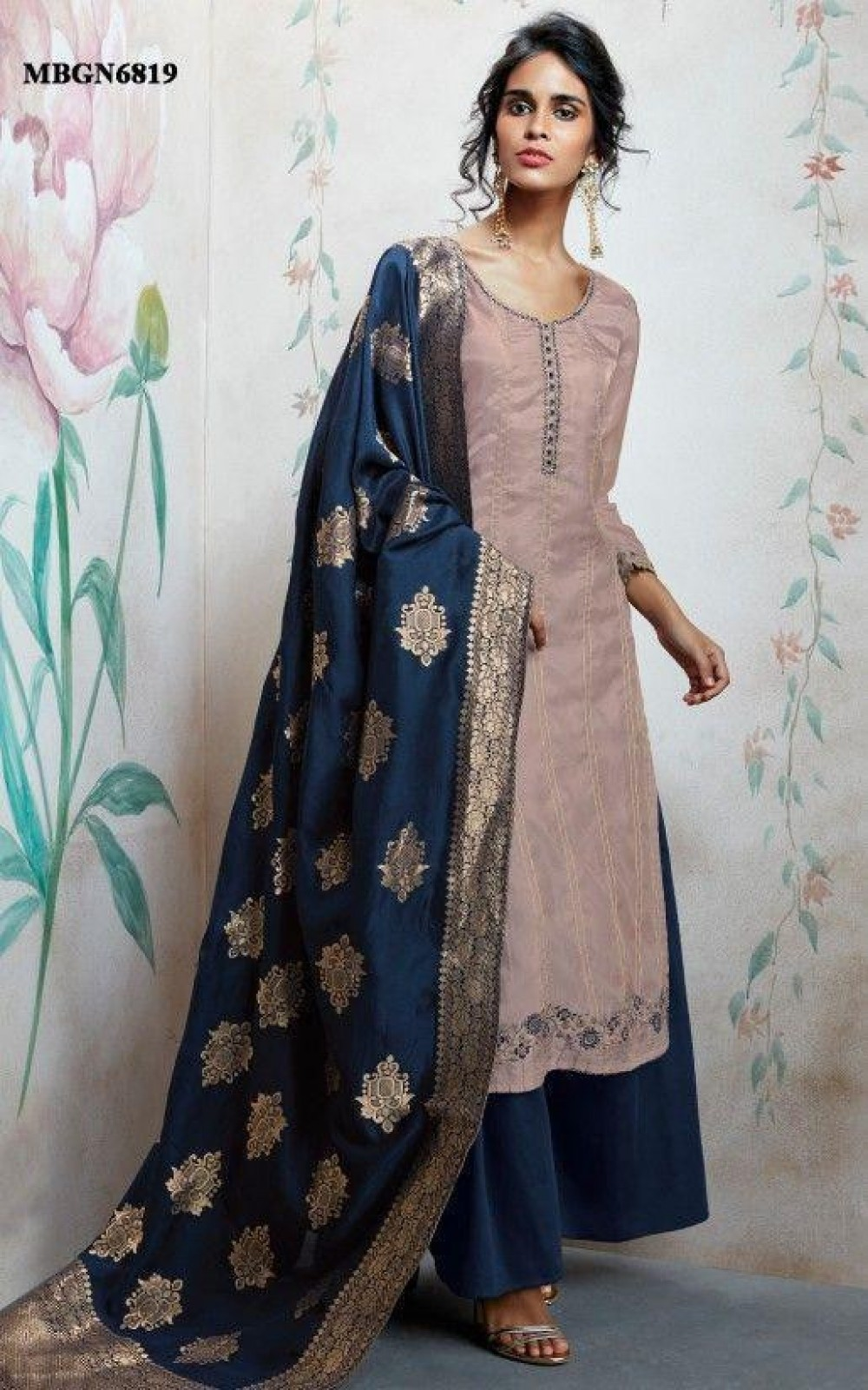 Glowing neavy blue Colour Embroidered anarkali suit with jaqard dupatta