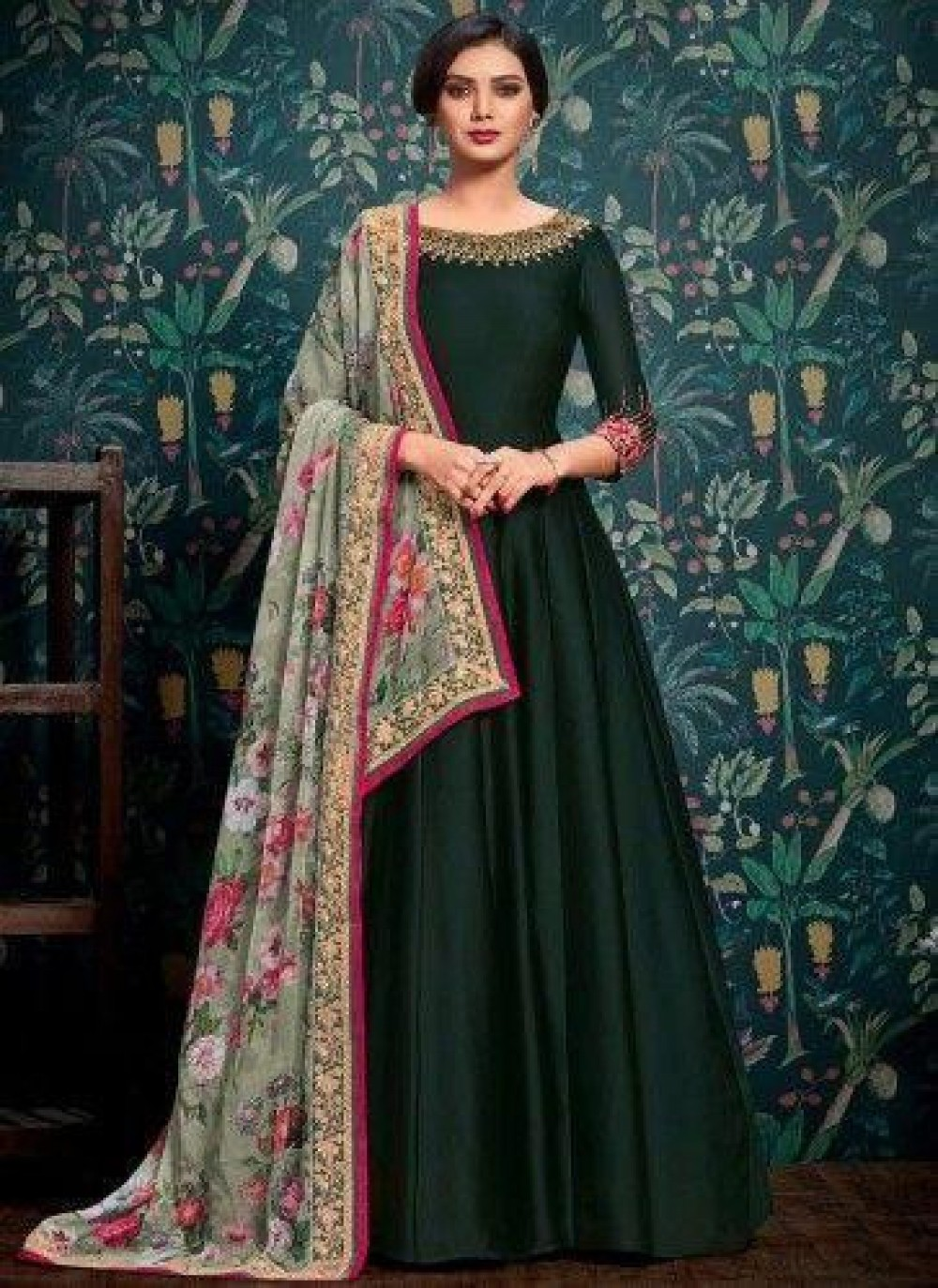 Graceful Embroidered Net Anarkali Suit in Dark Green