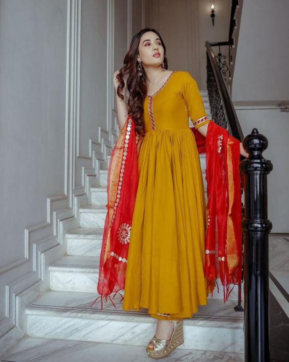 Imposing Yellow HoneyDrop Gota Suit Set