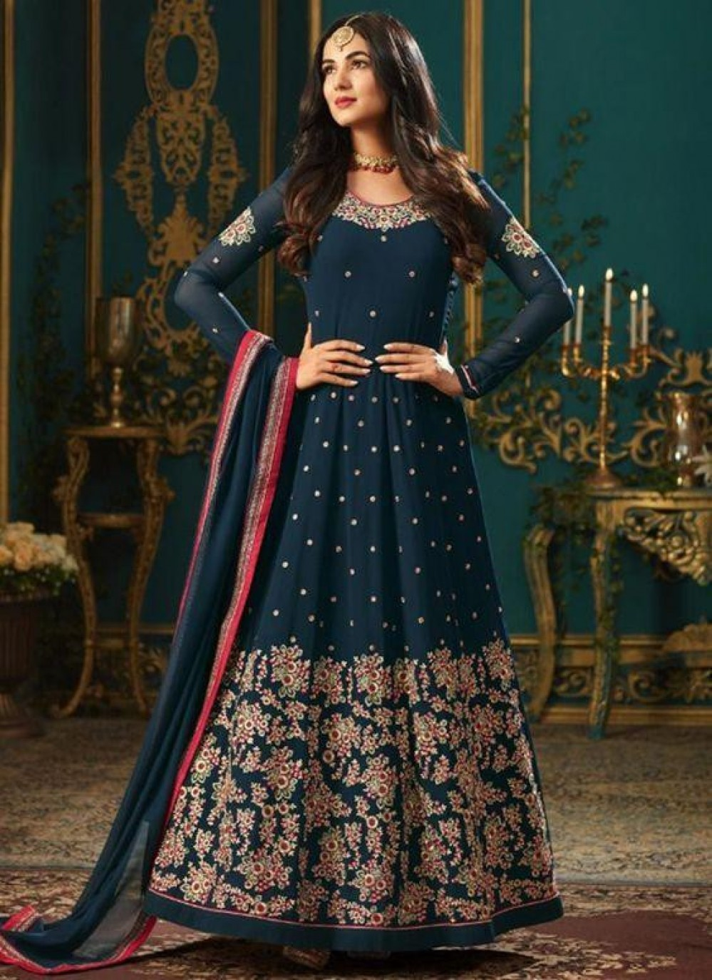 Lovely neavy blue embroide Anarkali Suit