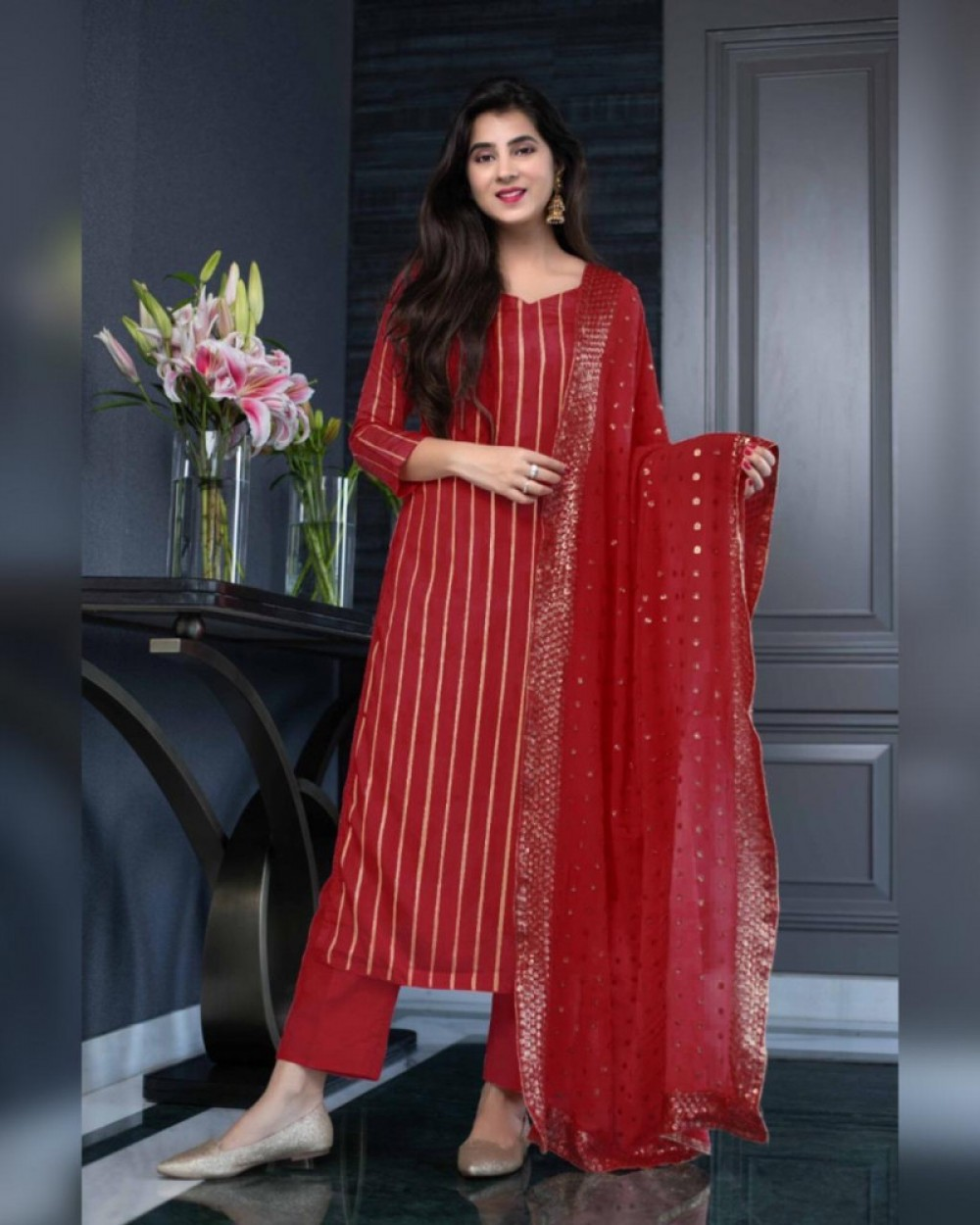 Pleasant Red Sequence Salwar Suit