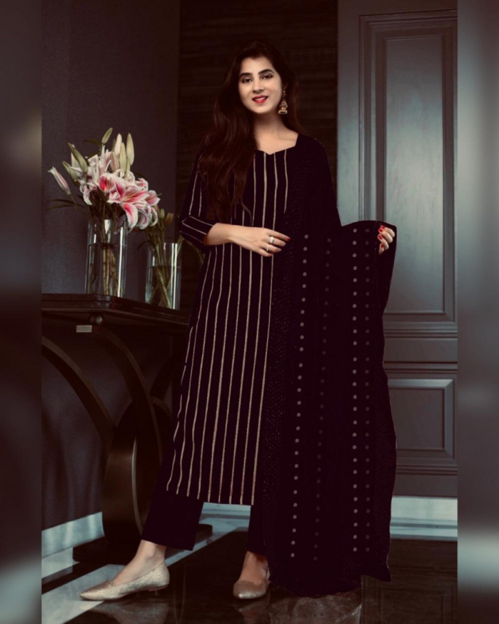 Precious Black Sequence Worked Salwar Suit