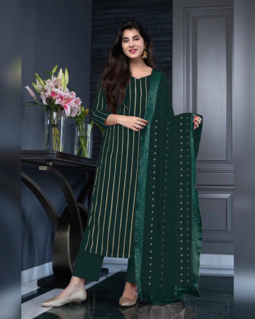 Pretty Collection Green Salwar Suit