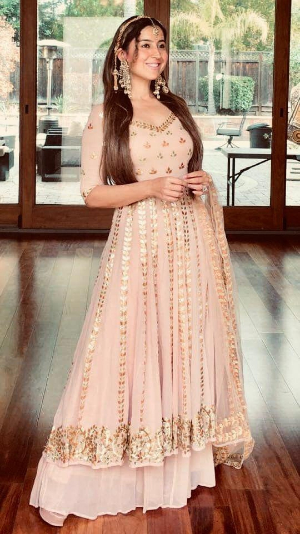 Beautiful Peach Anarkali Palazzo Suit