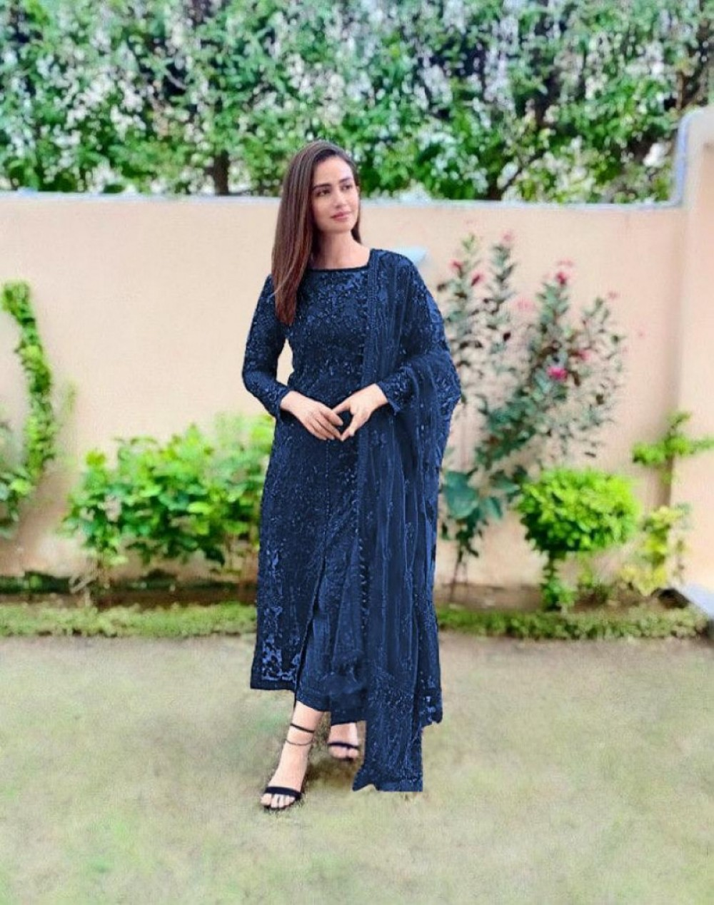 Blushing Navy Blue Salwar Suit in Online