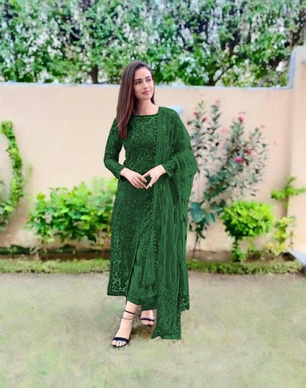 Breathtaking Green Sequin Worked salwar Suit