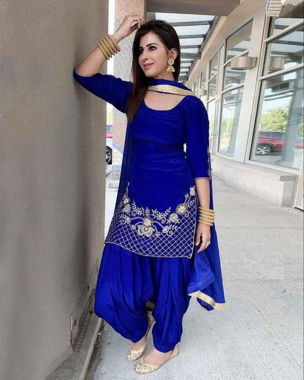 Celebrity Wear Blue Embroidery Patiyala Suit