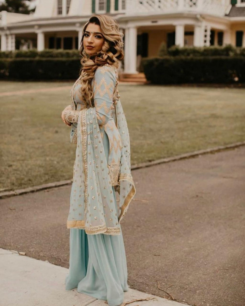 Demanding Sky Blue Sharara Suit Online