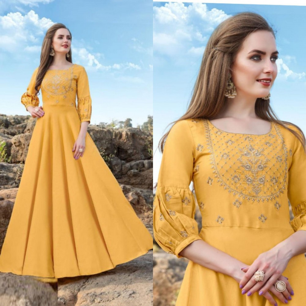 Energetic Yellow Long Gown
