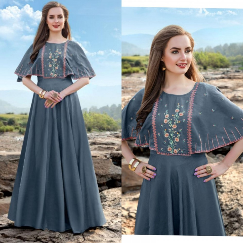 Engrossing Linen Silk Grey Long Gown
