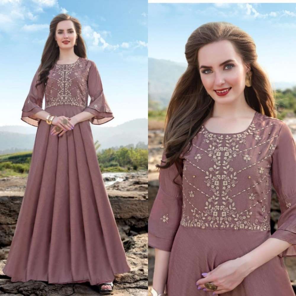 Exclusive Linen Silk Wine Long Gown