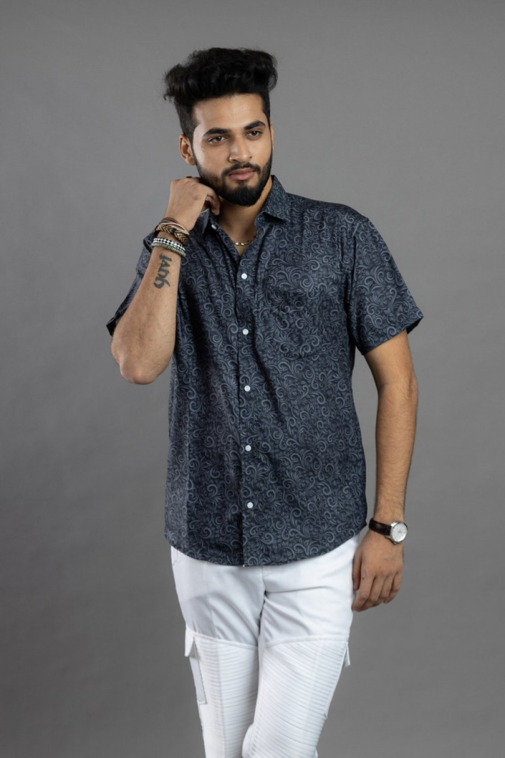 Mind Blowing Black and Grey Short Sleeves Faded Shirt