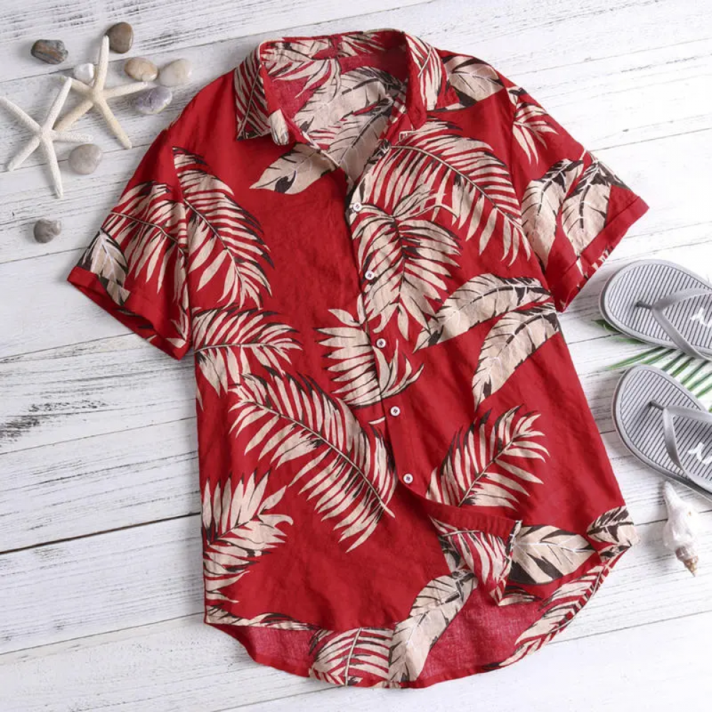Adoring Red Color Leaf Beach Look Shirt
