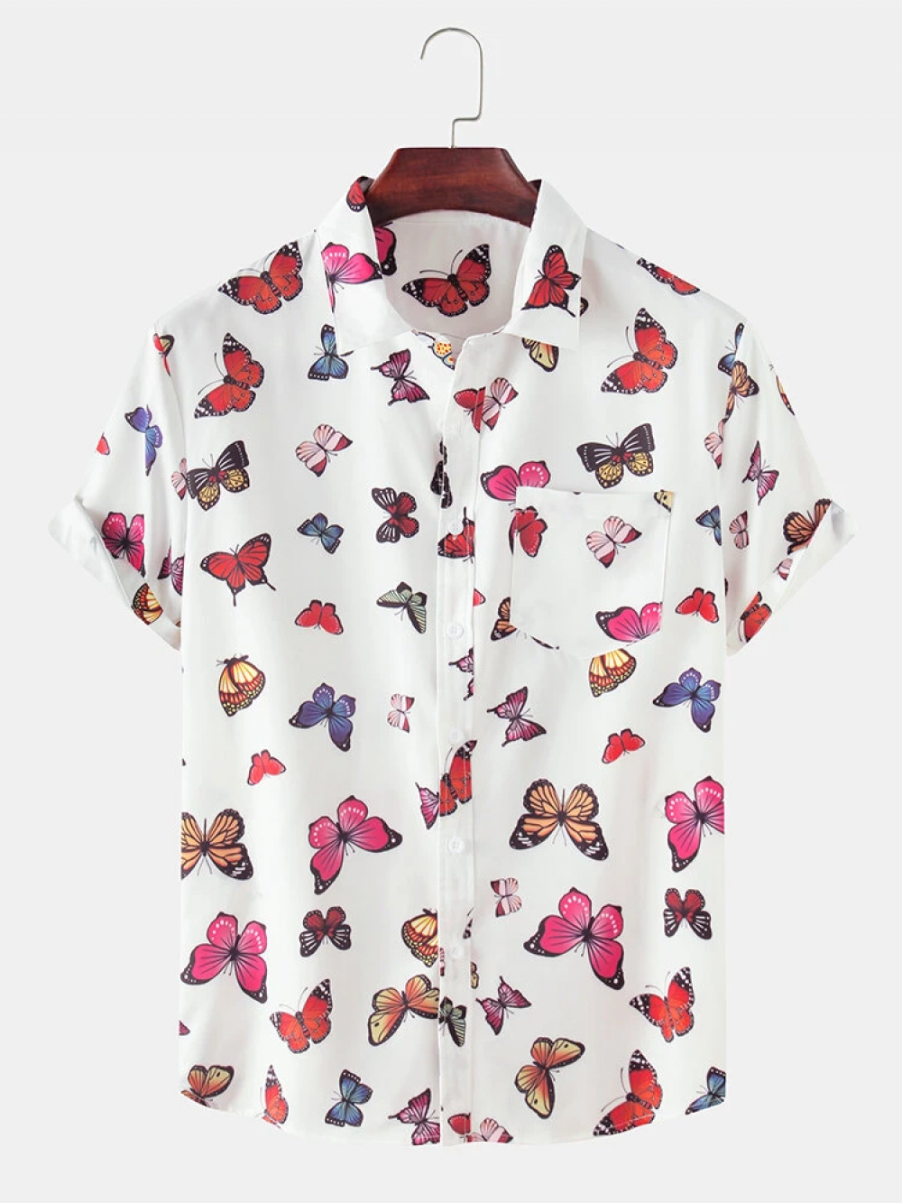 Engrossing Butterfly White Cotton Look Shirt
