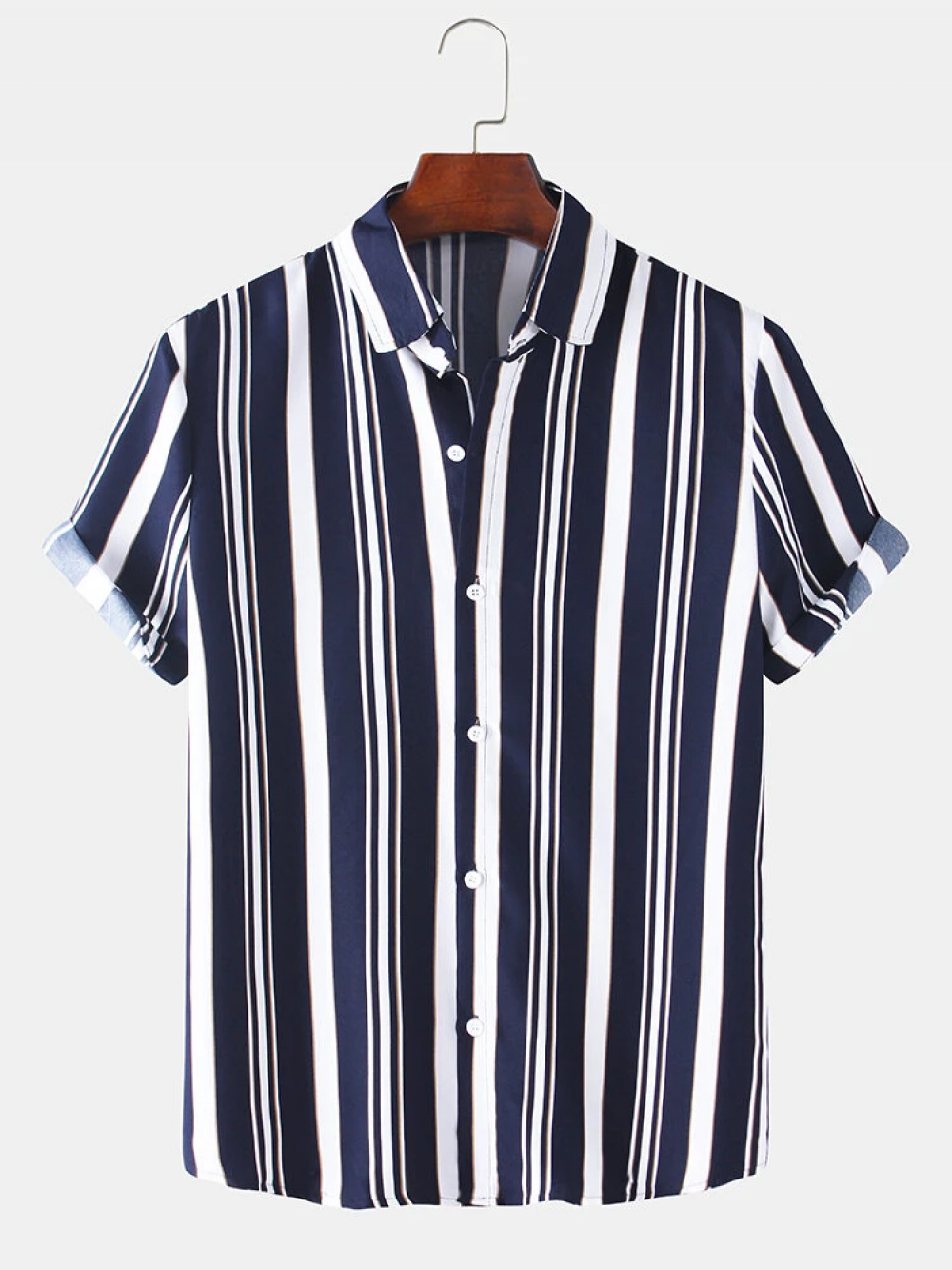 Fabulous Black and White Revere Collar Cotton Vertical Striped Shirt