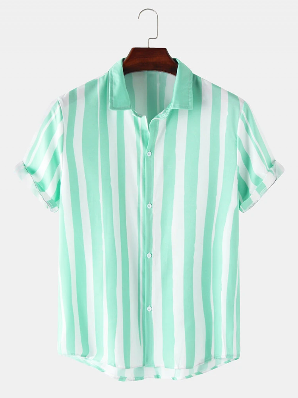 Good Looking Green color Striped ed Short Sleeve Shirt