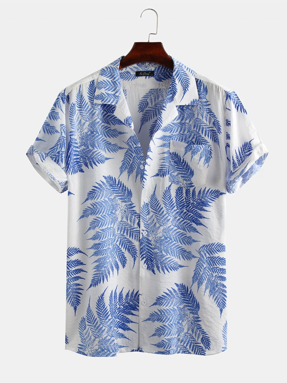 Outstanding White And Blue Pine Leaves Print Cotton Short Sleeve Relaxed Shirt