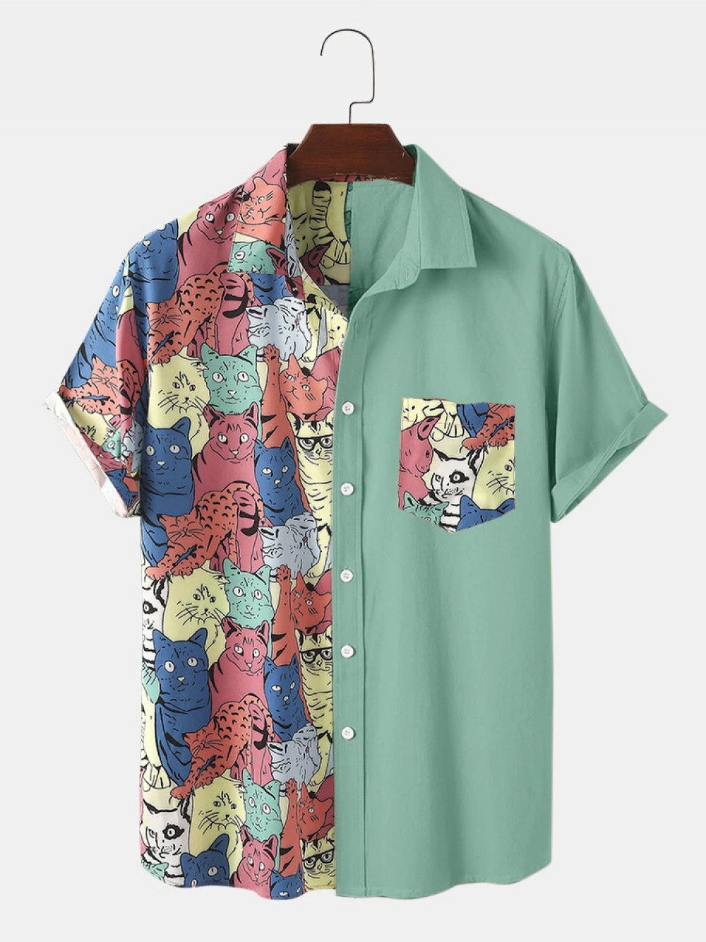 Blushing Funny Cartoon color Cat Print Chest Pocket Short Sleeve Shirt
