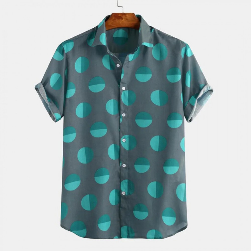 Delightful Blue Short Sleeve Vacation Shirt