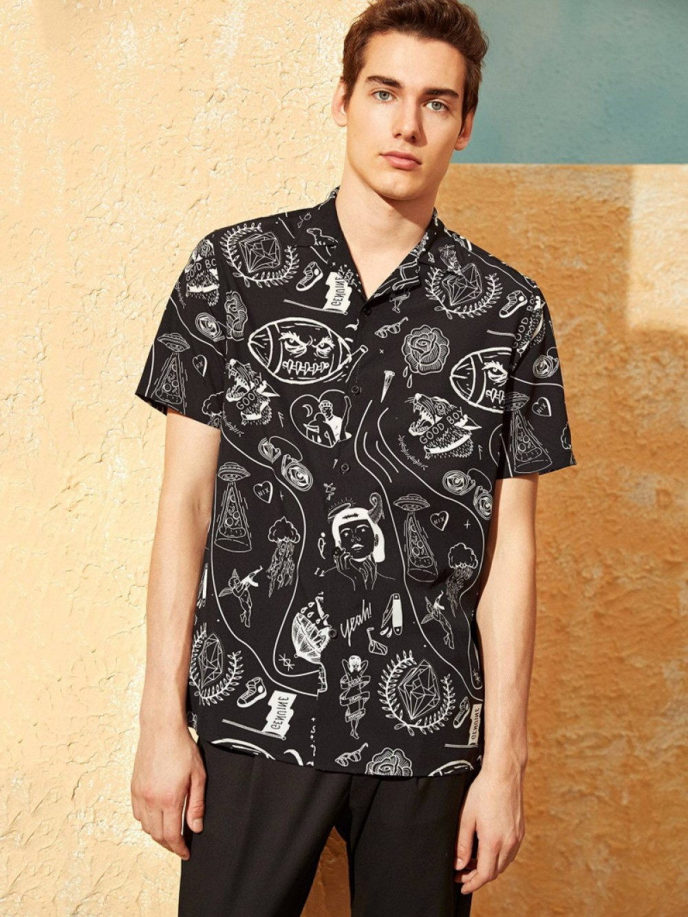 Flattering Shirt Revere Collar Black Graffiti Print Shirt