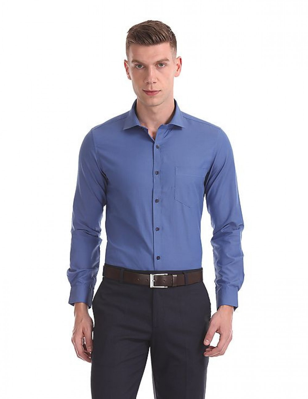 Attractive Plain Blue Formal Look Full Sleeves Office Wear Shirt