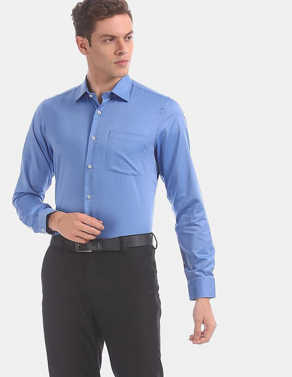 Men Blue French Placket Solid Cotton Formal Shirt