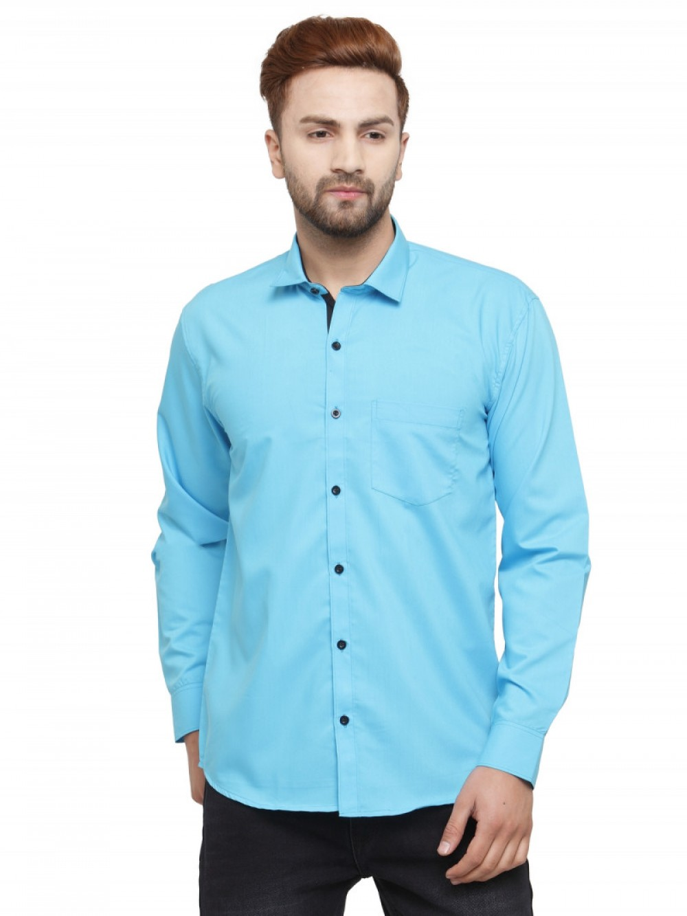 Attractive Sky Blue Colored Formal Wear Shirt