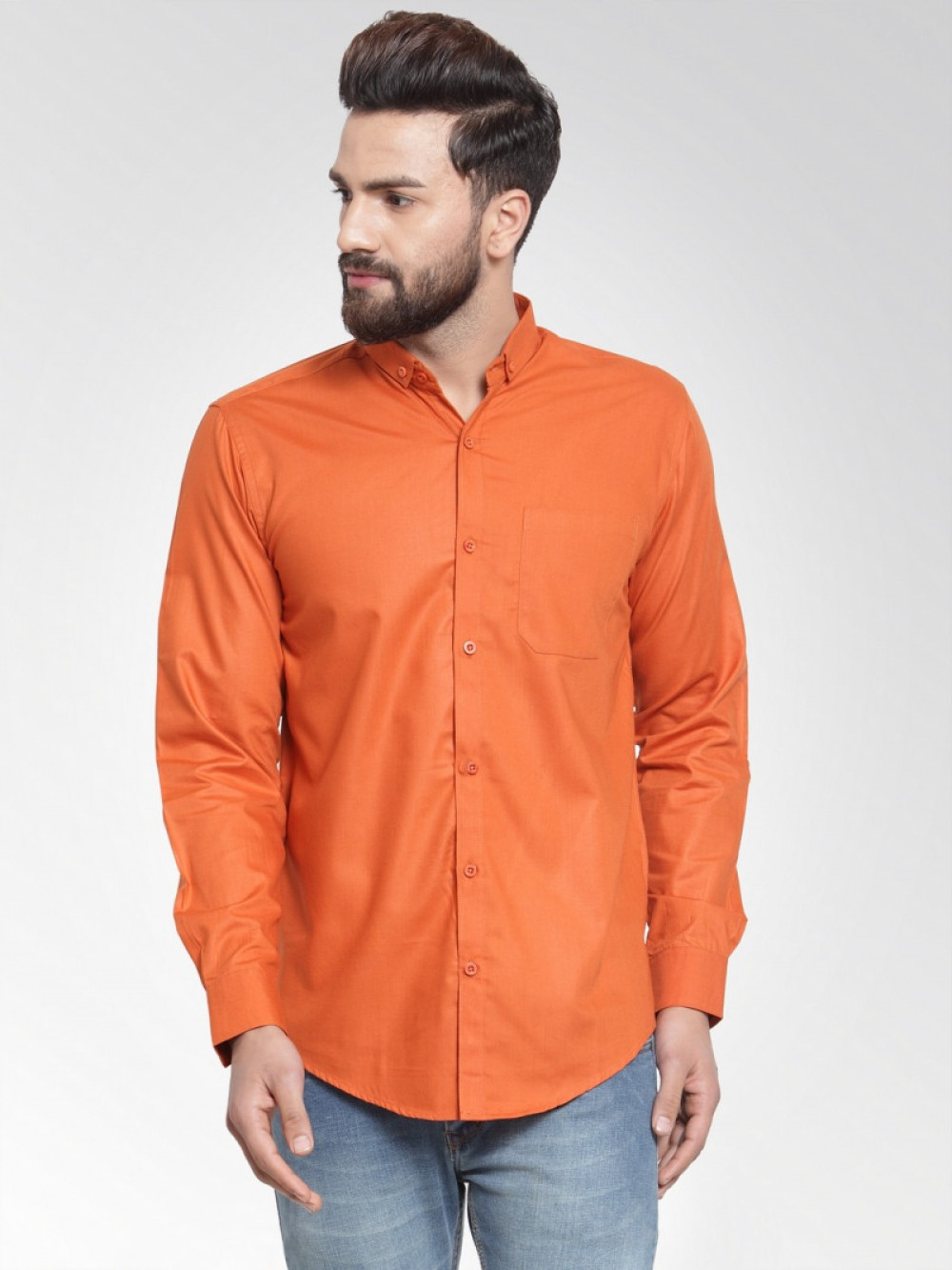 Attractive Plain Orange Colored Full Sleeves Shirt