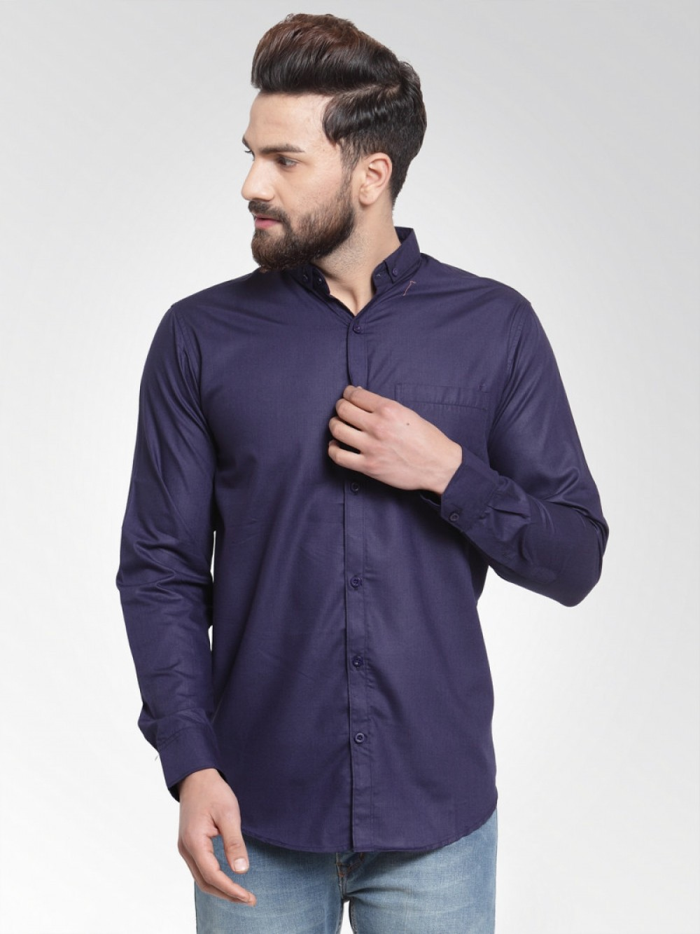 Navy Blue Color Plain Office Wear Shirt
