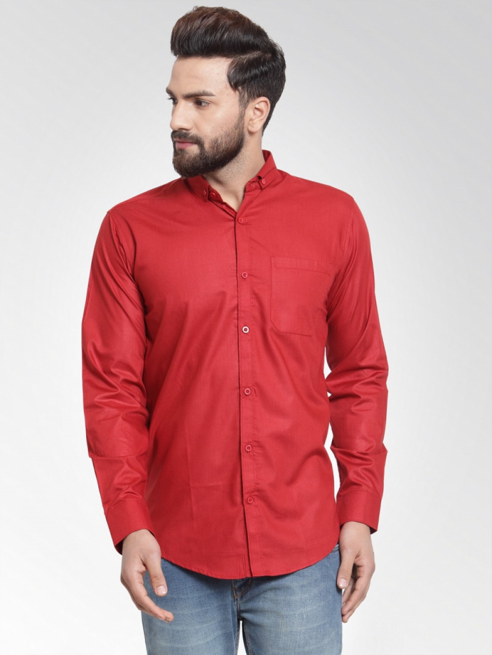 Attractive Maroon Plain Formal Shirt