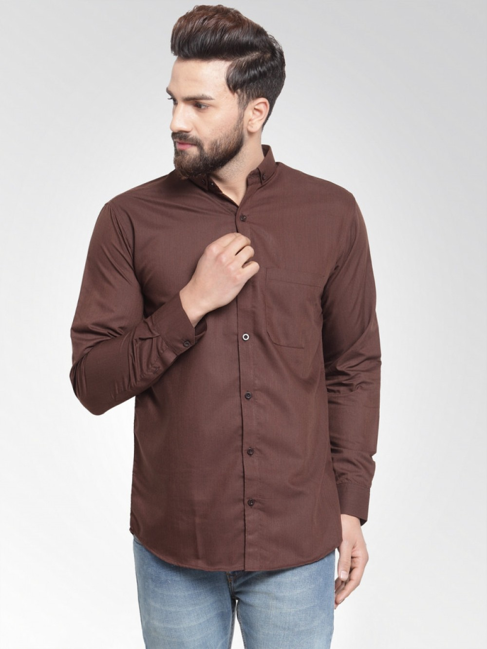 Formal Look Coffee Color Wear Shirt