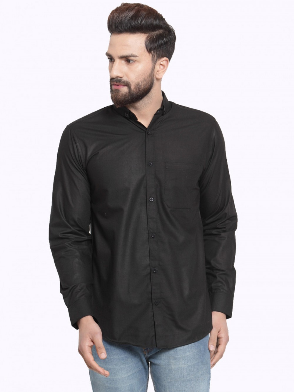 Black Plain Formal Look Shirt