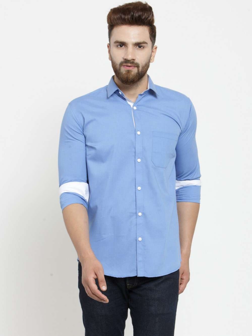 Attractive Plain Sky Blue Full Sleeves Shirt