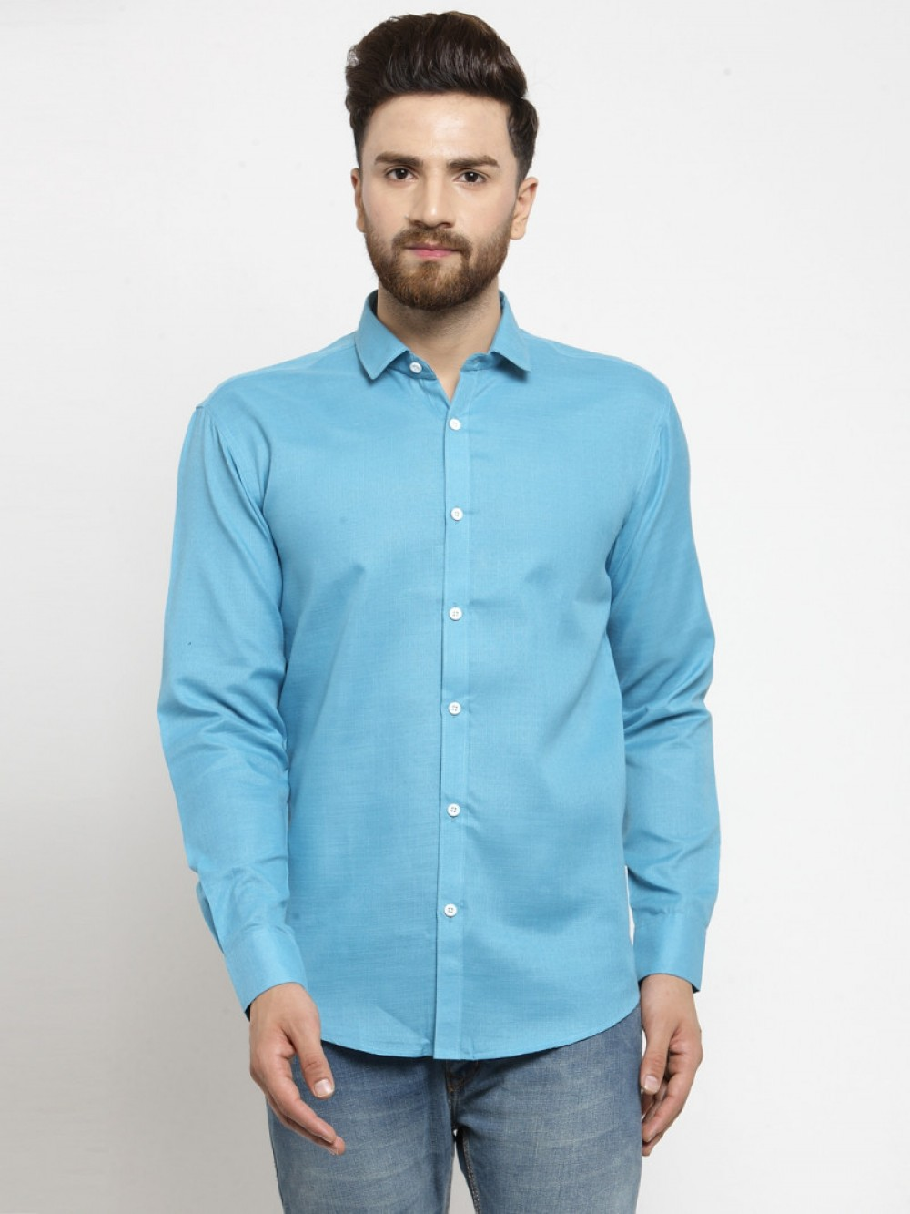 Blue Color Office Wear Full Sleeve Shirt