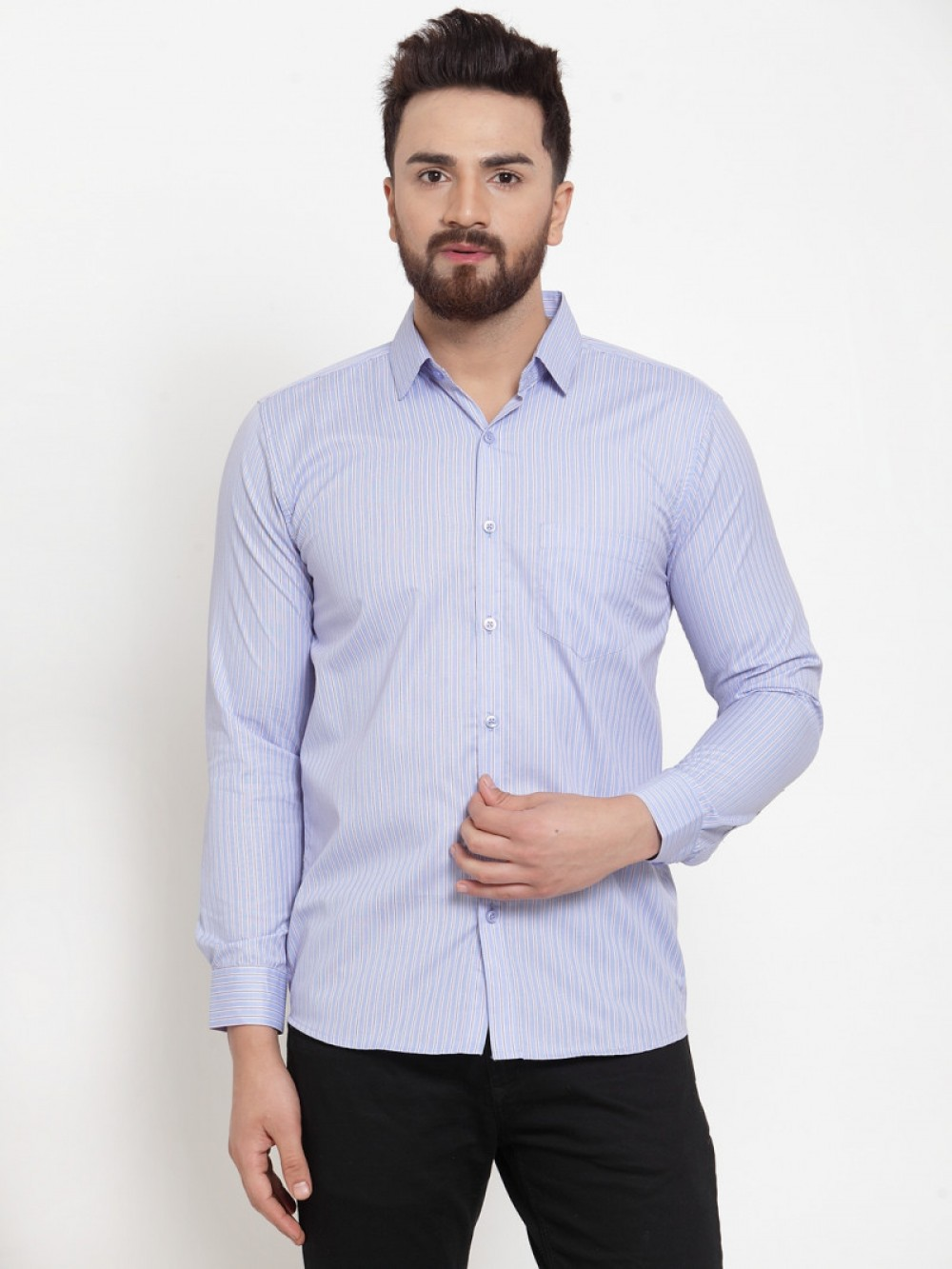 blue Plain Color Full Sleeve Shirt
