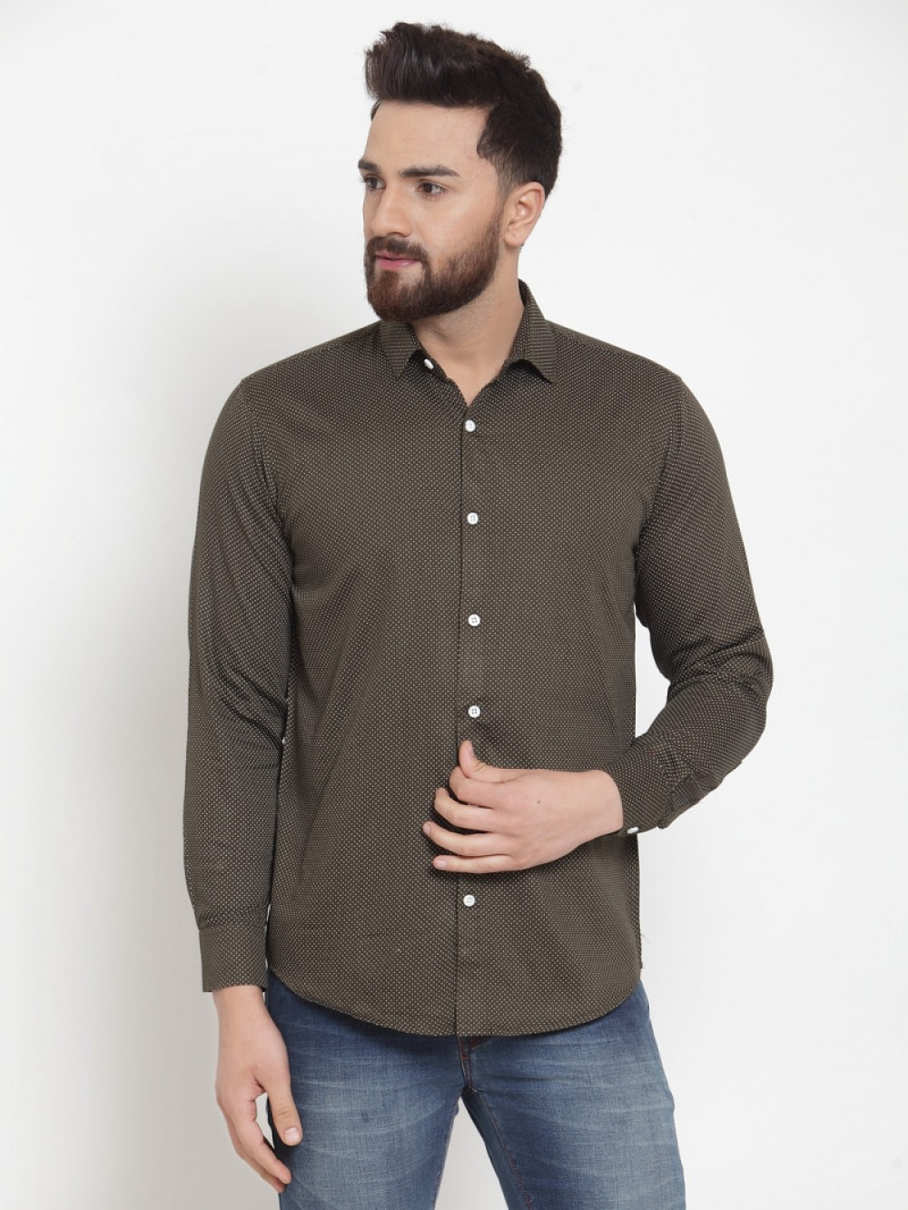 Attractive Dark Green Small Dott Shirt
